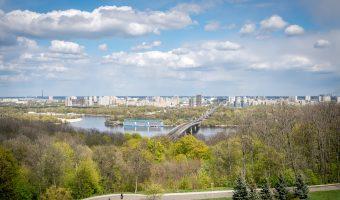 View of the Left Bank of Kiev, the Kiev Metro Bridge, and Hydropark