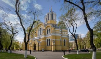 Photograph of St Volodymyr's Cathedral, the mother cathedral of the Ukrainian Orthodox Church – Kiev Patriarchate. View from the north east.