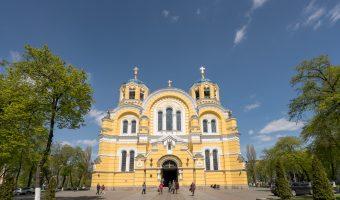 View of St Volodymyr's Cathedral from Tarasa Shevchenko Boulevard.