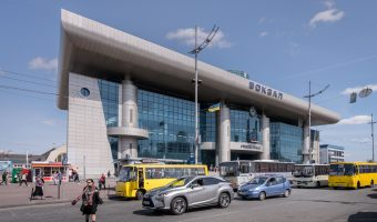 Photo of Kiev Train Station (Southern Station side). The Sky Bus can be seen parked outside the station.