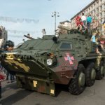 Military vehicle on display in the centre of Kiev. Photo taken on Ukrainian Independence Day.
