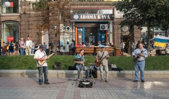 Live band playing on the street in Kiev, Ukraine