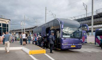 Photo of Autolux bus departing Kiev for Odessa. Taken at Vydubychi Bus Station in Kiev, Ukraine.