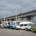 Small buses at Vydubychi Bus Station in Kiev, Ukraine. These buses typically go to small towns throughout Ukraine.