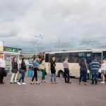 Passengers queuing for a small bus at Vydubychi Bus Station in Kiev, Ukraine.