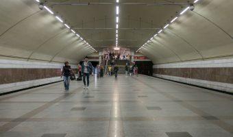 Platform at Zhytomyrska Metro Station in Kiev, Ukraine.