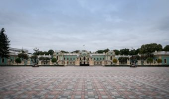 Mariinsky Palace and Constitution Square in Kiev, Ukraine
