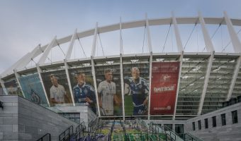 Photo of the Olympic National Sports Complex (NSC Olimpiyskiy) in Kiev, Ukraine.
