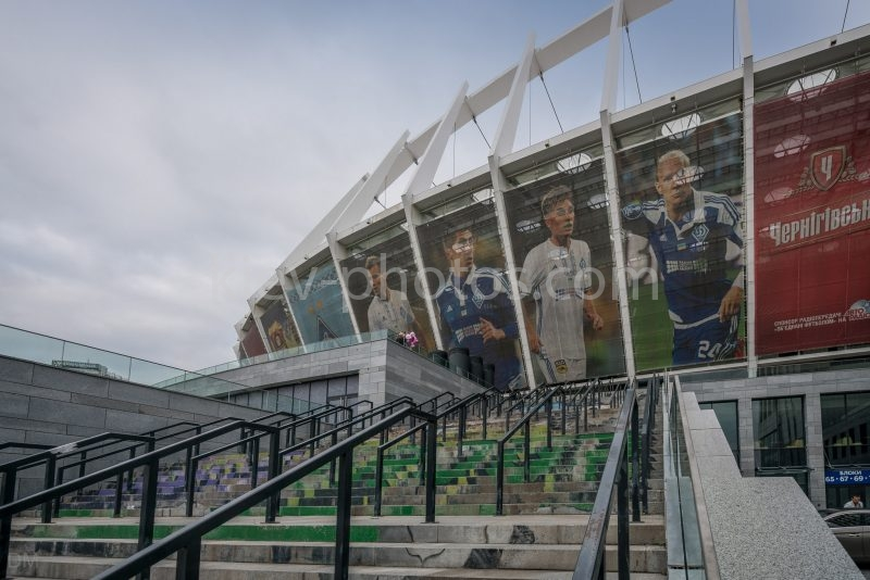 Photo of a stand at the Olympic National Sports Complex (Olympic Stadium) in Kiev.