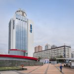 View of the Park Inn by Radisson Kyiv Troyitska hotel in Kiev. The hotel offer 196 rooms and suites and is situated next to the Olympic Stadium.