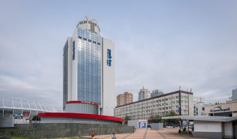 Photograph of the Park Inn by Radisson Kyiv Troyitska in Kiev, Ukraine. The hotel is located right next to the Olympic Stadium.
