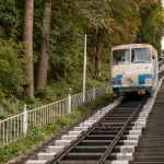 Kiev Funicular cable car approaching Poshtova Ploshcha station