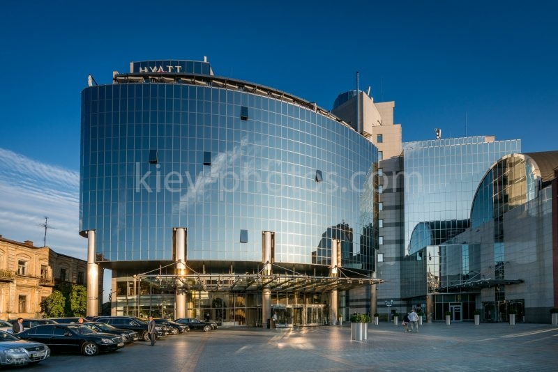 Glass facade of the Hyatt Regency Kiev