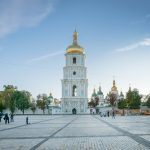 St Sophia's Cathedral in Kiev, Ukraine - bell tower and Sophia Square