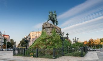 Bohdan Khmelnytsky Monument and Sophia Square in Kiev, Ukraine