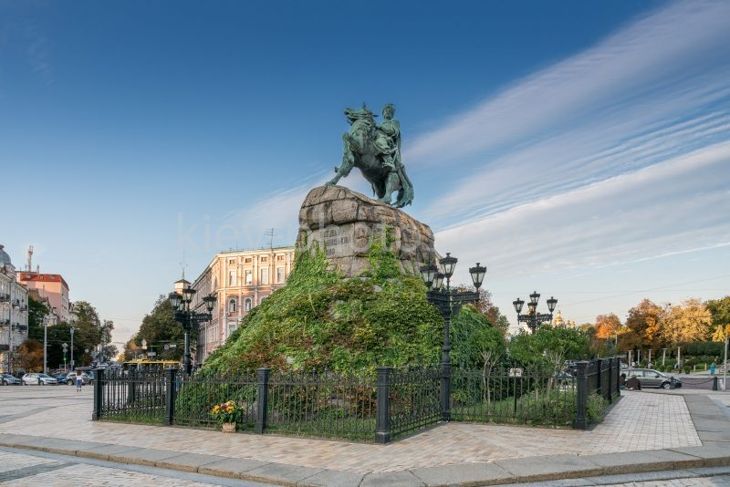 Bohdan Khmelnytsky Monument and Sophia Square in Kiev, Ukraine