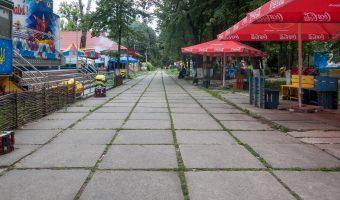 Deserted amusement park at Hydropark in Kiev, Ukraine