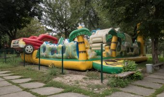 Inflatable at Hydropark in Kiev, Ukraine
