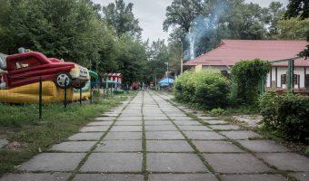 Deserted fairground at Hydropark In Kiev