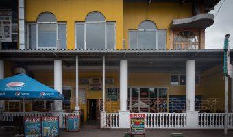 Restaurant with no customers at Hydropark (Hidropark) in Kiev, Ukraine