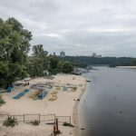 Beach on the Dnieper River at Hydropark in Kiev.