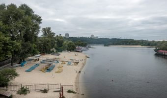 An empty beach on the Dnieper River at Hydropark (Hidropark) in Kiev, Ukraine. Photo taken on a weekday in August.