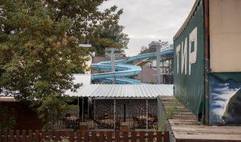 Slide at the 'waterpark' at Hydropark in Kiev, Ukraine