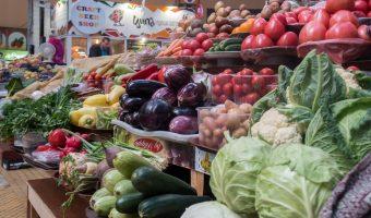Vegetable store at an indoor market in Kiev, Ukraine