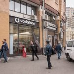 Mobile phone shop (Vodafone) and kebab shop (Doner House) at Besarabsky Market in Kiev