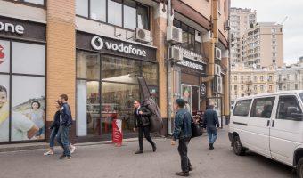 Mobile phone shop (Vodafone) and kebab shop (Doner House) at Besarabsky Market in Kiev