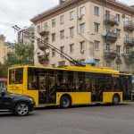Trolleybus on Shota Rustaveli Street in Kiev, Ukraine.