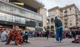 Street dance crew performing near the entrance to Khreshchatyk Metro Station in Kiev, Ukraine.