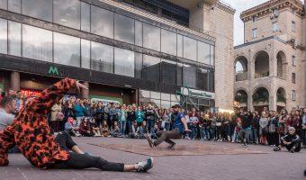 Photo of a b-boy crew breakdancing near Khreshchatyk Metro Station in Kiev, Ukraine.