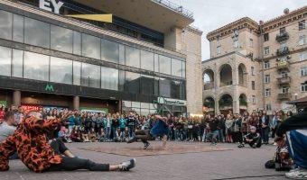 Breakdancers near Khreshchatyk Metro Station