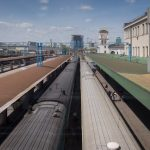 Trains at the platforms of Kiev Train Station (Kiev Passenger Railway Station).