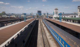 Train stopped at Kiev Train Station.
