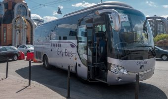 Photo of the Sky Bus at Kiev Train Station (Kiev Passenger Railway Station). The bus offers a regular service between Boryspil International Airport and Kiev Train Station.