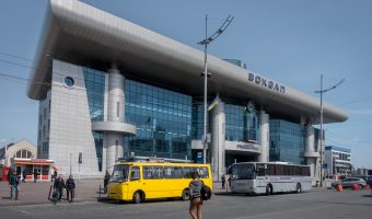 Buses outside Kiev Train Station