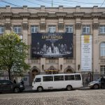 Lesya Ukrainka Theatre (also known as the Bourgogne Theatre) on Bohdana Khmelnytskoho Street in Kiev city centre.