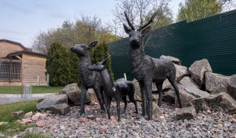 Animal statues at the entrance to the zoo at Mezhyhirya National Park in Kiev Oblast.