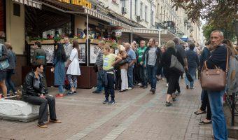 Queue at Kyivska Perepichka, a Ukrainian hot dog kiosk on Bohdana Khmelnytskoho Street in Kiev city centre.