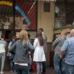 Photo of Kyivska Perepichka, a popular kiosk on Bohdana Khmelnytskoho Street in Kiev city centre. It serves Ukrainian hot dogs.