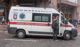 Photo of a Ukrainian ambulance parked on Bohdana Khmelnytskoho Street in Kiev city centre.