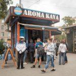 Aroma Kava coffee kiosk in Kiev, Ukraine