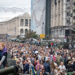 Tanks and military equipment on display in Kiev city centre