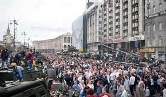 Tanks and military vehicles on display in Kiev city centre. Taken on Ukraine Independence Day.