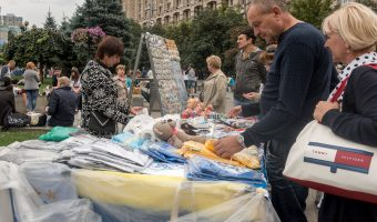 Souvenir stall on Independence Square in Kiev, Ukraine