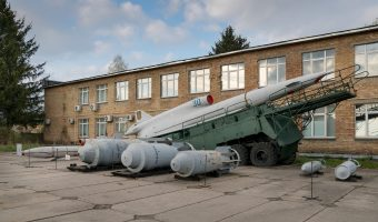 Tupolev Tu-141 Soviet reconnaissance drone and launcher at the Ukraine State Aviation Museum in Kiev.