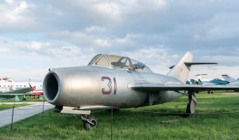 Mikoyan-Gurevich MiG-15UTI Soviet jet fighter (two-seat dual-control trainer) at the Ukraine State Aviation Museum in Kiev.
