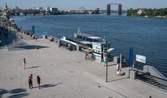 Kiev River Port and Dnieper River in Kiev, Ukraine